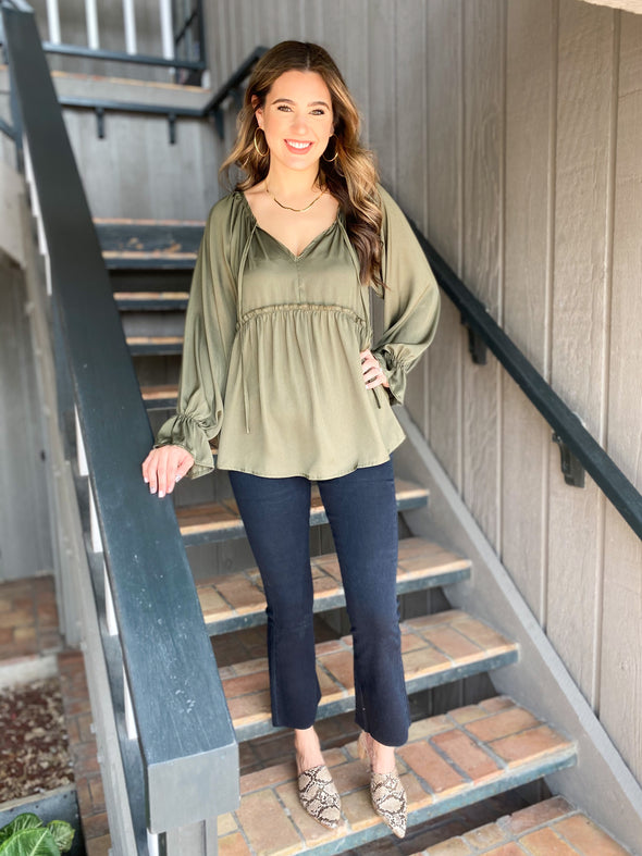 Olive Ruffled Tie Front Top