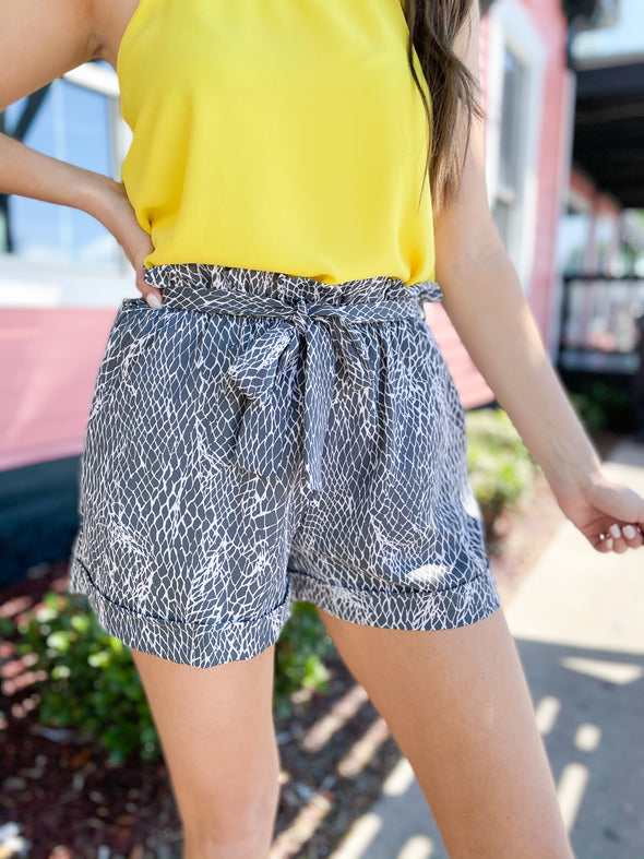 Grey Goddess Net Print Paperbag Shorts