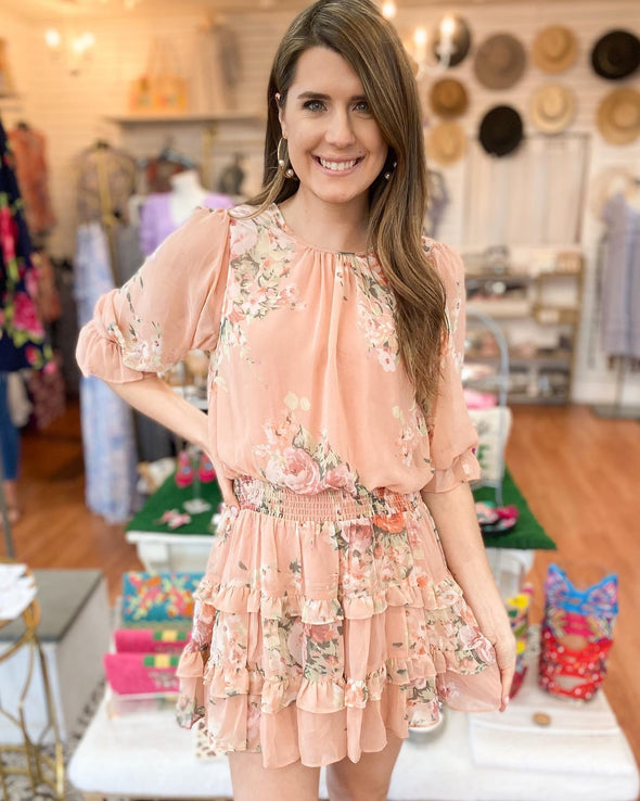 Peach Floral Printed Dress