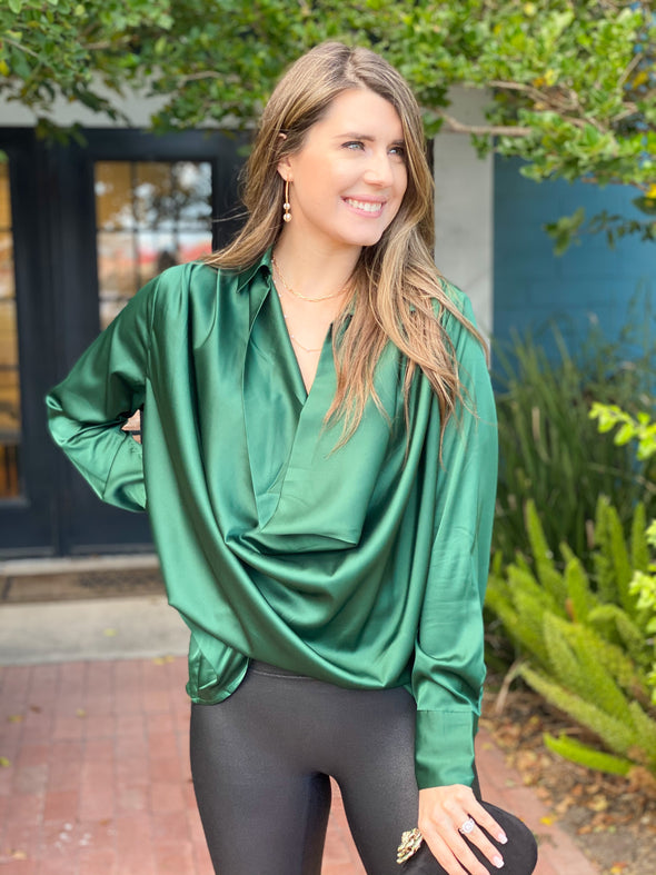 Green Front Draped Top