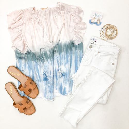 Tie dye Smocked Shoulder Top