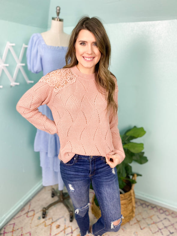 Dusty Pink Lace Shoulder Top
