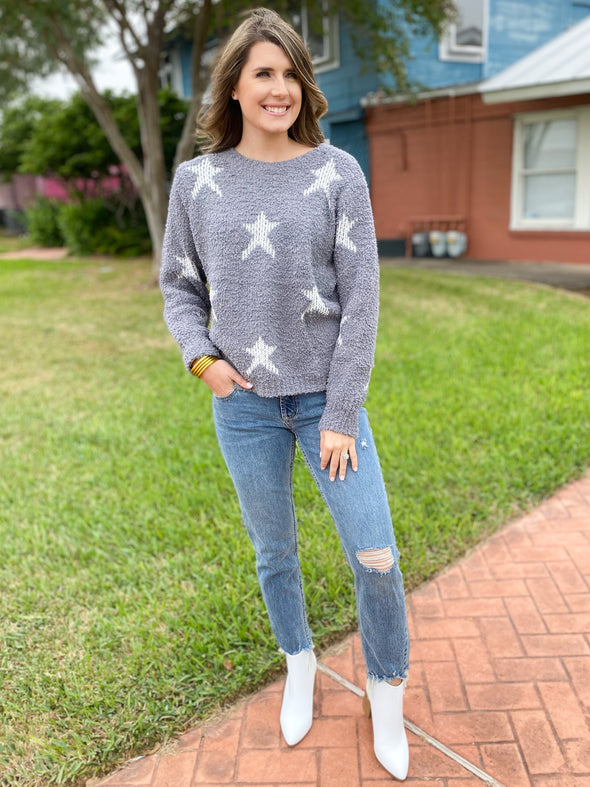 Soft Grey/White Star Sweater