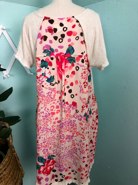Oatmeal Dress with Printed Back