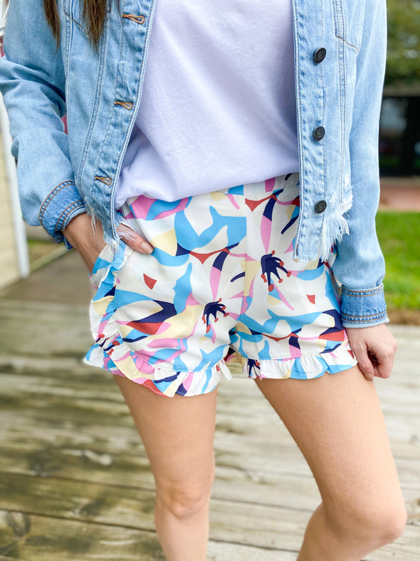 THML Flower Ruffled Shorts