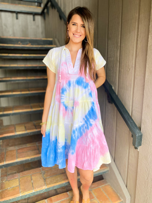 Rainbow Tie Dye Midi Dress