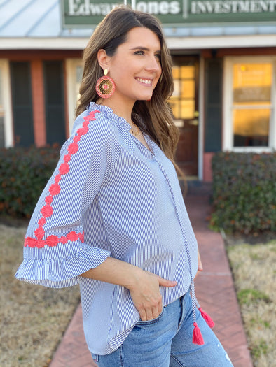 Blue Striped with Coral Floral Embroidered Top
