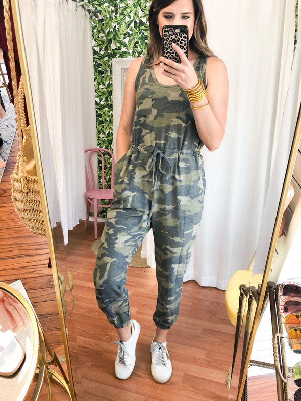 Camo Terry Knit Jumpsuit