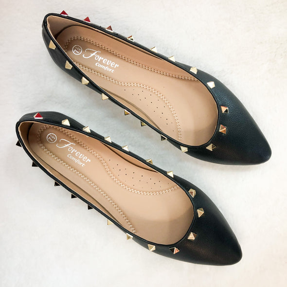 Stella Studded Black Flat