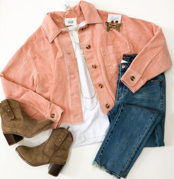Blush Corduroy Flare Jacket