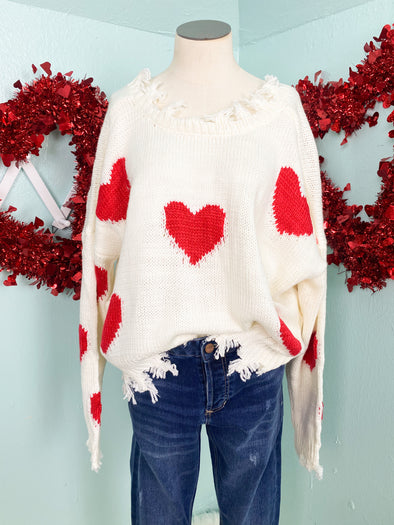 Cream and Red Heart Distressed Sweater