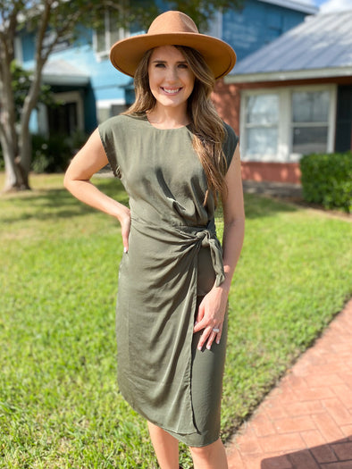 Olive Knot Satin  Midi Dress