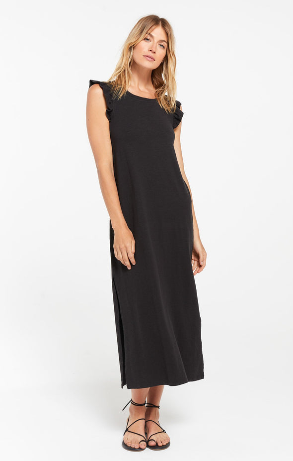 Blakely Black Slub Ruffle Dress