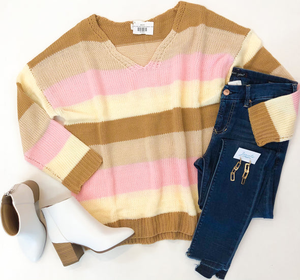 Pink/Tan Color block Striped Sweater