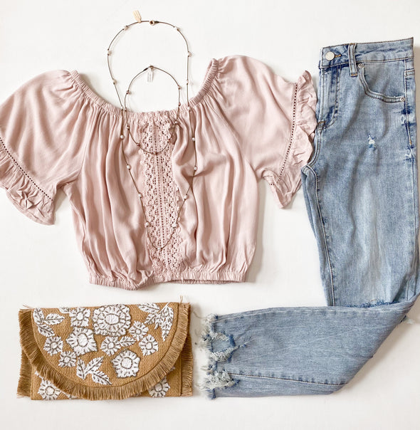 Rose Crochet Trim Off the Shoulder Blouse