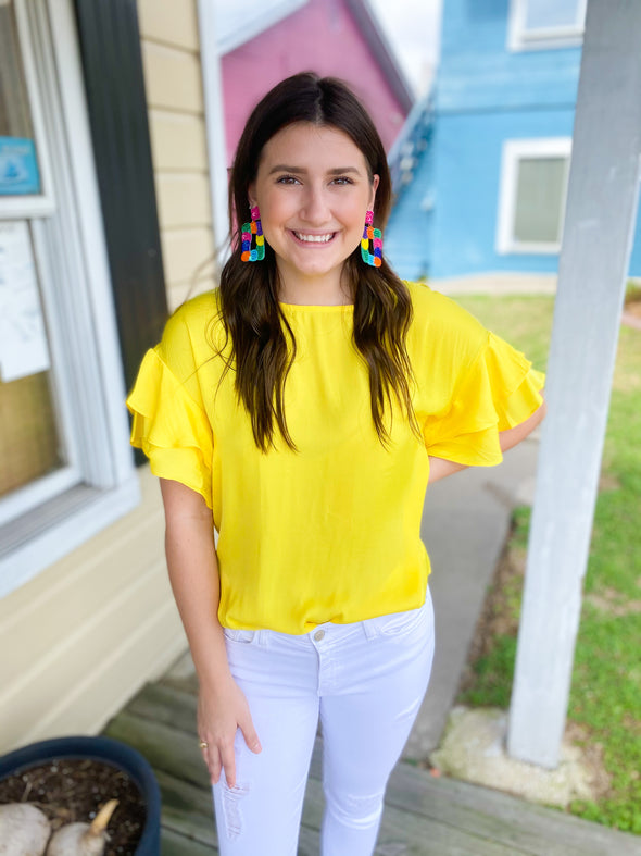 Pineapple Ruffle Sleeve Top
