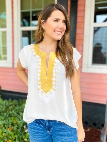 Ivory Front Pocket V Neck Top