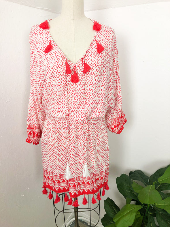 Red Printed Smocked Dress