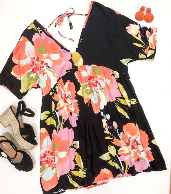 Black Multi Floral Dress