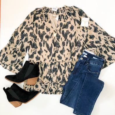 Taupe Leopard Tiered Top