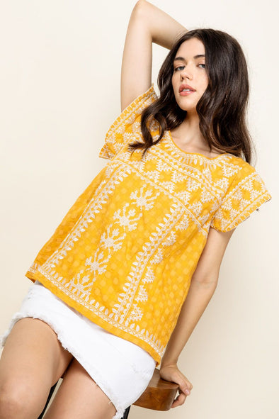 Mustard Embroidered THML Top