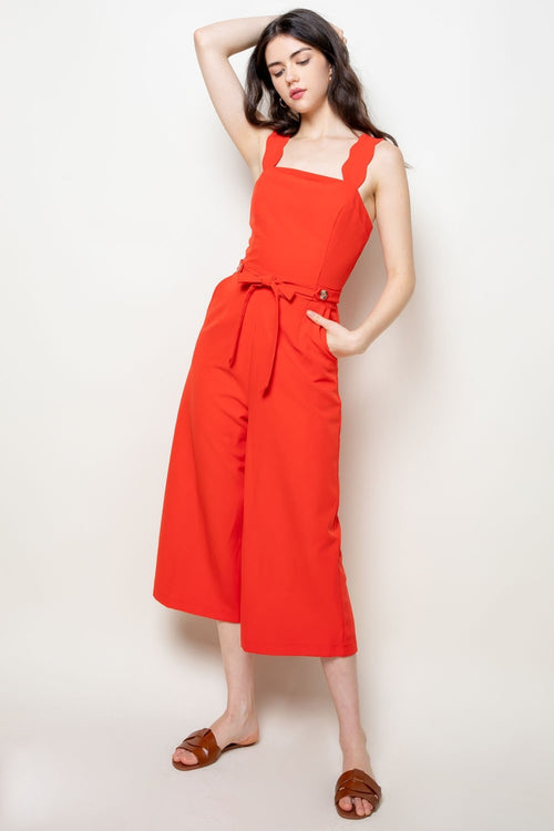 Red Scalloped Detail THML Jumpsuit