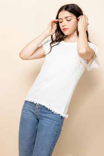 White Frayed Puff Sleeve Top