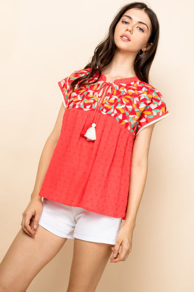 Coral Embroidered Tassel Top