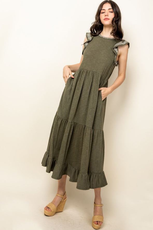 Olive Green Knitted Maxi Dress