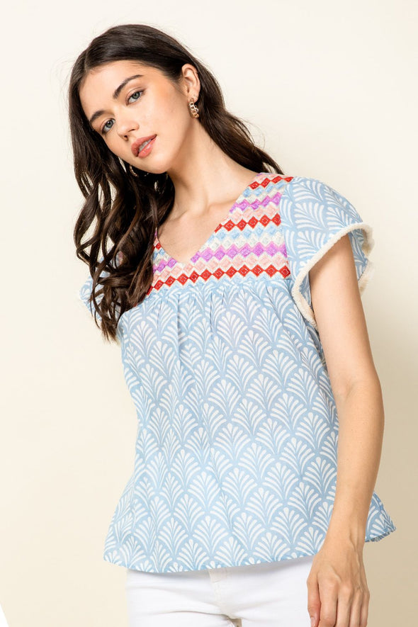 Blue Embroidered Printed THML Top
