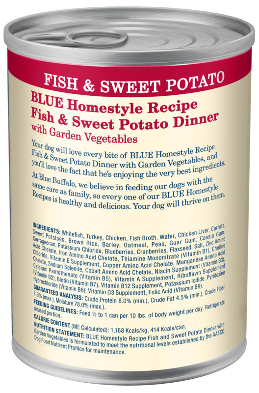 Blue Buffalo Homestyle Recipe Fish & Sweet Potato Dinner with Garden Vegetables Canned Dog Food