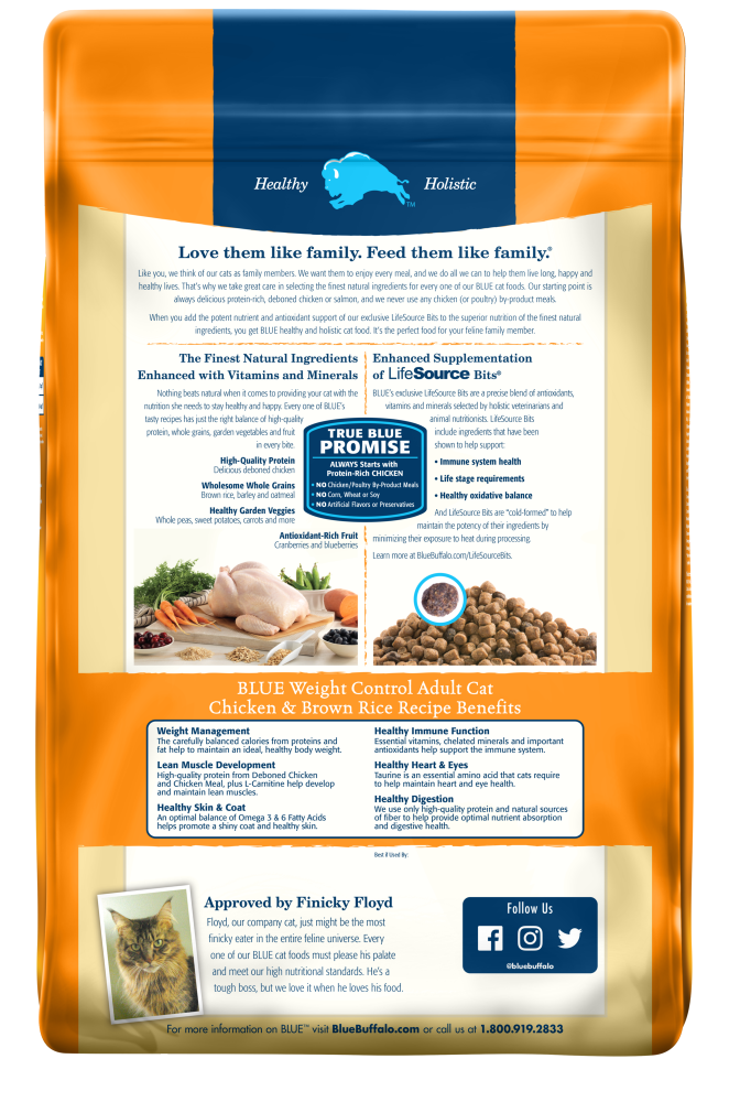 Blue Buffalo Weight Control Chicken & Brown Rice Recipe Adult Dry Cat Food