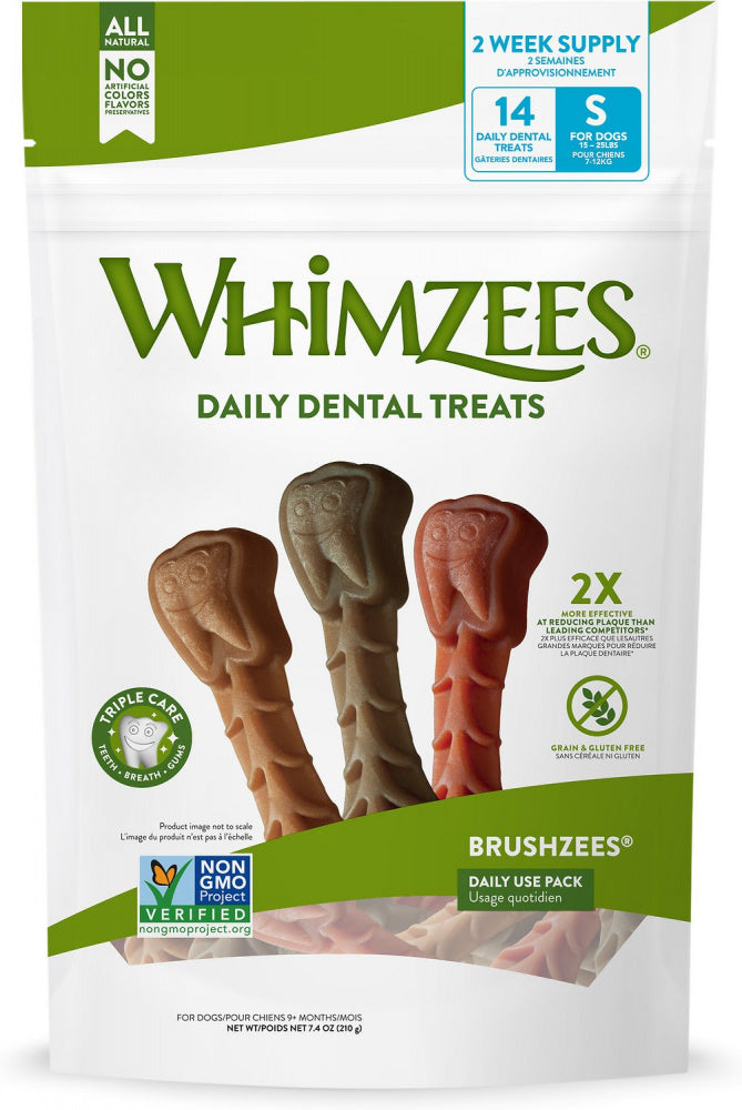 Whimzees Daily Use Brushzees Small Pack Dental Dog Treats