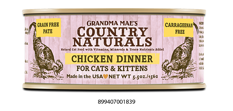 Grandma Mae's Country Naturals Grain Free Chicken Dinner Food for Cats