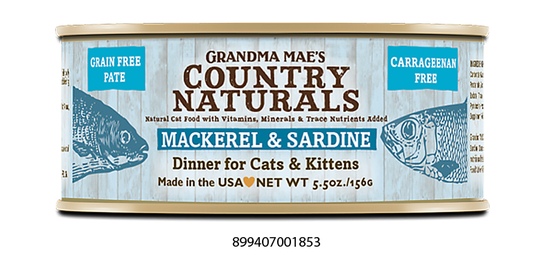 Grandma Mae's Country Naturals Grain Free Mackerel & Sardine Dinner Food for Cats