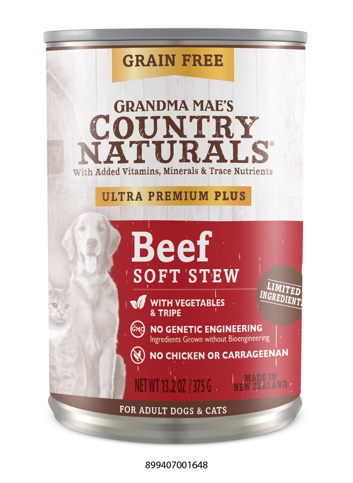 Grandma Mae's Country Naturals Grain Free Ultra Premium Plus Beef Soft Stew Food for Dogs