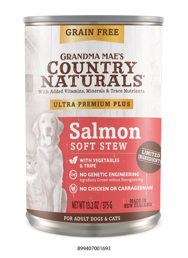 Grandma Mae's Country Naturals Grain Free Ultra Premium Plus Salmon Soft Stew Food for Dogs
