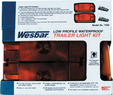 "Deluxe Trailer Light & Wiring Kit 2-7/8""X8""X2-5/8"" Os Wesbar 007509"