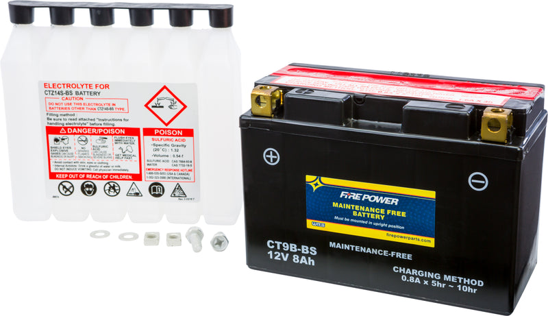 MAINTENANCE FREE BATTERY CT9B-BS Fire Power CT9B-BS