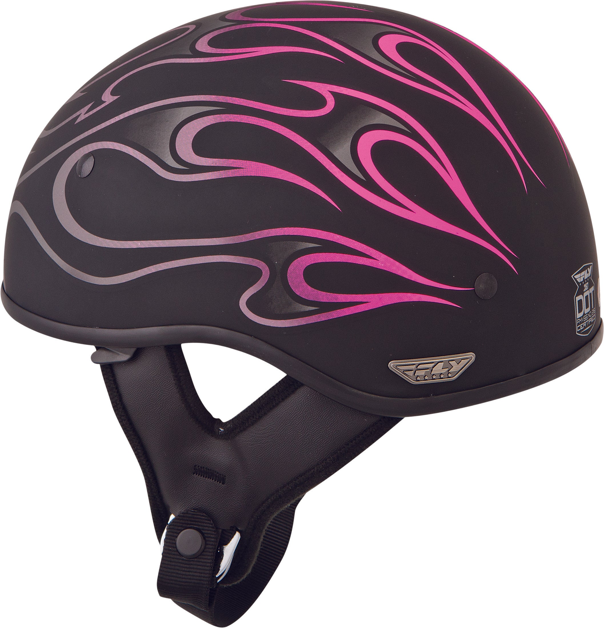 Fly Street .357 Flame Half Motorcycle Helmet Dot Approved Black multi Colors