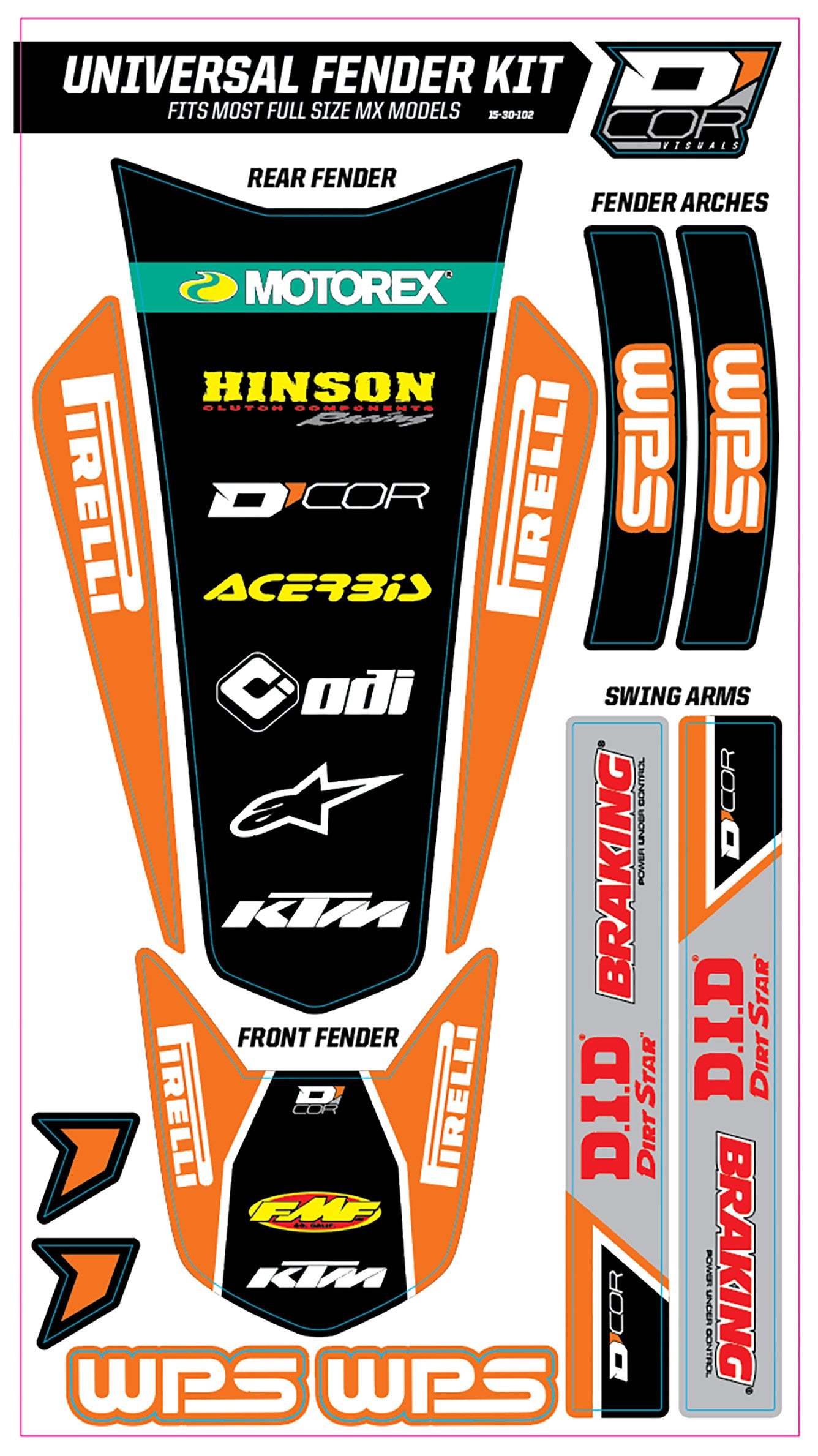 TRIM KIT ORANGE WPS UNIVERSAL FOR FULL SIZE MOTORCYCLES D'cor Visuals 15-30-102