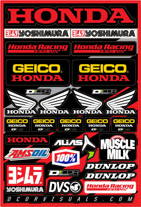 "TEAM GEICO HONDA DECAL SHEET 12""X18"" D'cor Visuals 40-10-114"