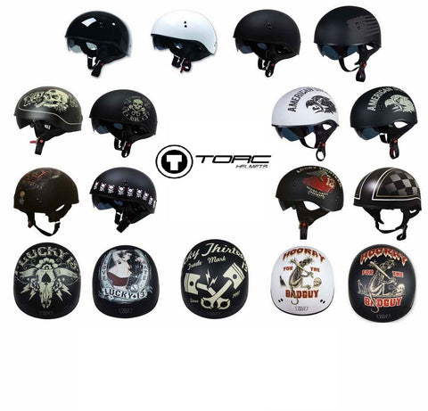 Torc T55 Half Shell Motorcycle Helmets Inner Smoke Visor Solids/Graphic Colors
