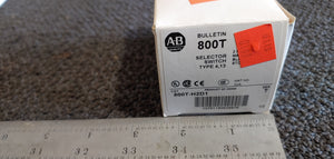 Allen-Bradley 800T-H2D1 30.5mm Type 4/13 2-Position Selector Switch, Non-Illuminated, White, Standard Knob, Maintained, 1 N.O. Contact, Series T