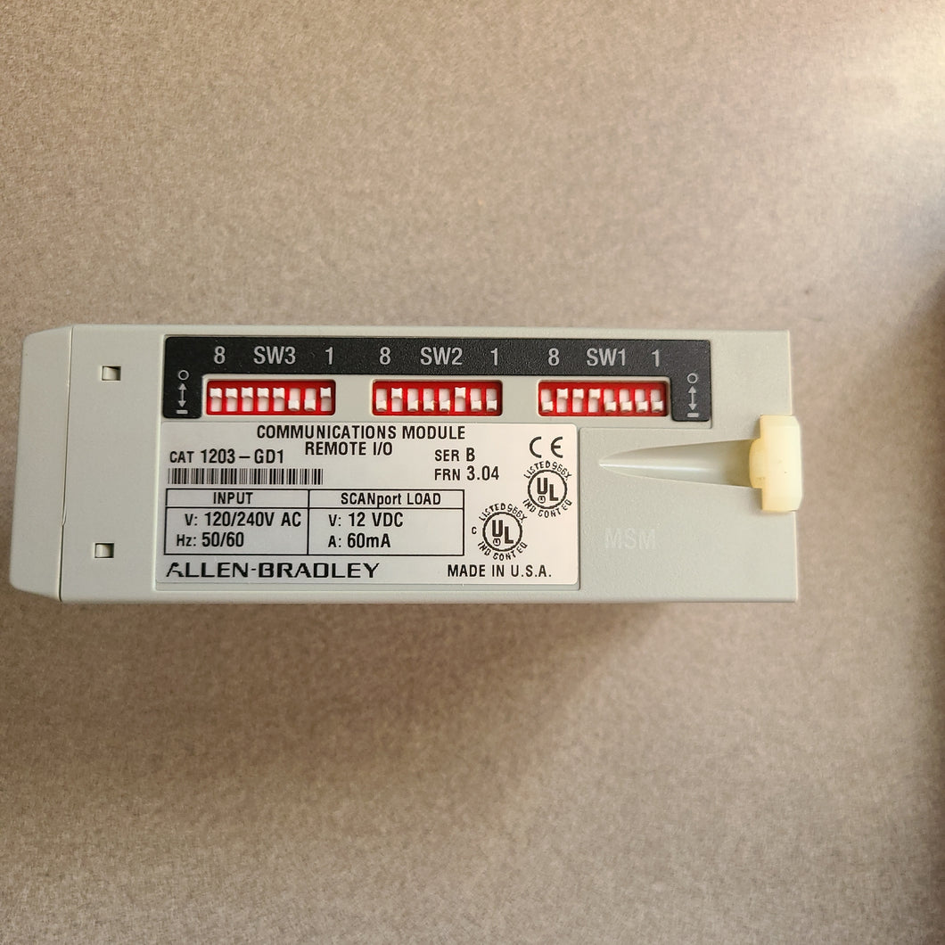 ALLEN BRADLEY 1203-GD1 COMMUNICATIONS MODULE REMOTE I/O SER C