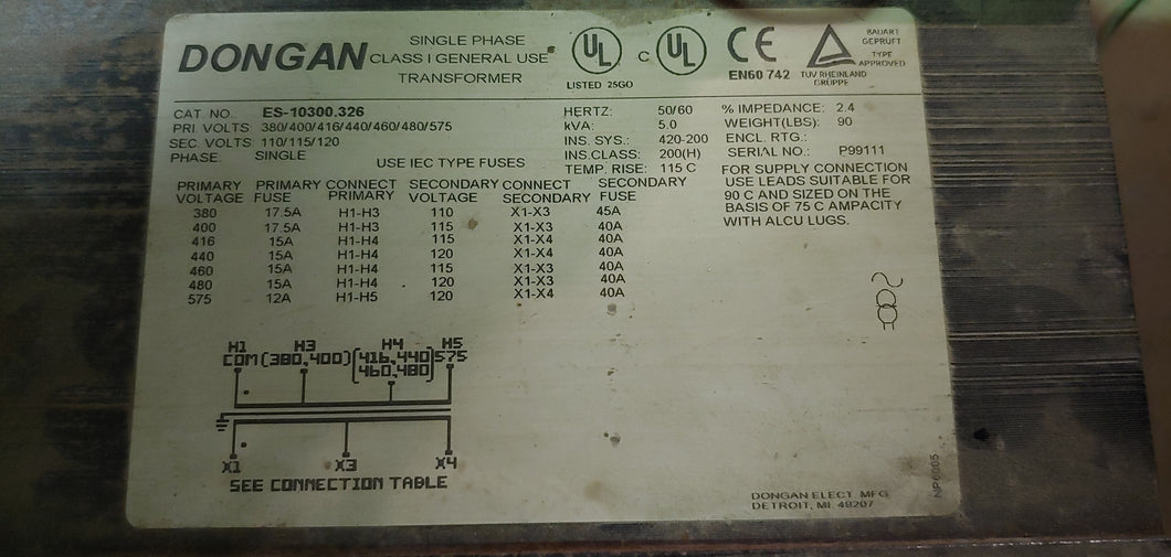 Dongan 5 KVA 1 PH Isolation Transformer, Multi Voltage Input to 110/115/120 Volts