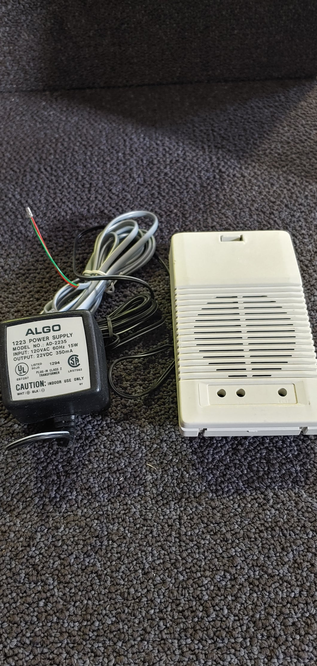 Algo Duet Plus 1825 Loud Phone Ringer with Power Supply 120vac - 22vdc (used)