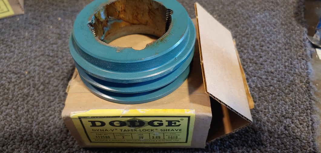 Dodge 2/3V 3.65 VT-1610 112189 Bushing Bore V-Belt Pulley - 3V Belt Section, 2 Groove, 3.6 in Pitch Dia., 3.65 in O.D., Taper Lock Bushed, 1610 Series Bushing, Cast Iron Material