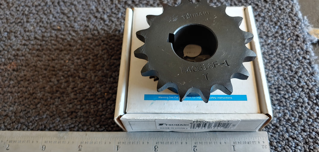 Tsubaki H40B16F-1 Finished Bore Sprocket - 40 / 1/2 in, Finished w/ Keyway, 1.0000 in Bore , 16 Teeth, Steel, Hardened Teeth Material