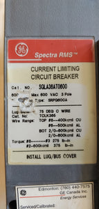 General Electric Spectra RMS Current Limiting Breaker SGLA36AT0600 3 pole 300Amp 600V Max